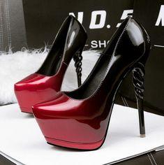 Hot Women's Black To Red Peep Toe Platform Ankle Strap High Heels Pumps Sandals #platformhighheelsanklestraps #platformhighheelspump