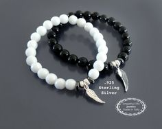 Black and white bracelet set Sterling silver angel by EmpathyGifts