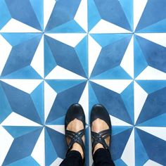 "Our ""diamond twist"" cement tile. Let's do the twist! #moodyblues #TileEnvy #tliephile #tileasart #floorcore"