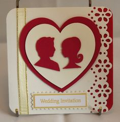 Red and white theme 'couple in hearts' wedding invitation  #Wedding #Invitation #Stationery