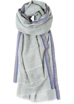 TOAST Soft, fine, herringbone wool scarf with selvedge stripe detail. Softly frayed edges.
