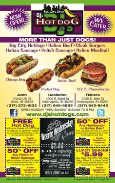 DJ's Hot Dog coupons for Fishers from My Neighborhood Source! Coupons expire 12/31/13! Print & Save!