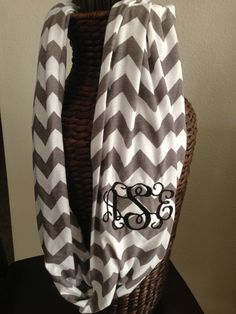 Monogram It: Chevron Scarf & Cuff Bracelet Chevron Infinity Scarves, Grey Chevron, Gray, Cute Scarfs, Dress Me Up, Girly Things, Passion For Fashion, Fasion, Machine Embroidery