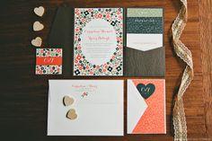 Wood grain pocket wedding stationery