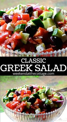Cucumbers, red bell pepper, tomato, red onion, Kalamata olives and feta cheese, tossed in a wonderful homemade dressing. This healthy salad is a classic for a reason! #greeksalad #salad #healthyfood #healthylunch #easydinner