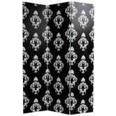 "KOriental Furniture""Double Sided Damask Canvas Room Divider in Black and White"
