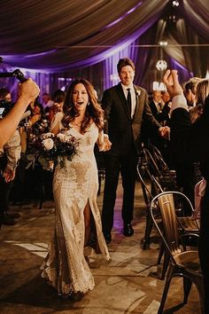 Happy picture of Bride and groom entering reception - Nikk Nguyen Photo | A Dreamy Vineyard was the Perfect Setting for This Boho Glam Wedding After Wedding Dress, Boho Wedding Dress, Wedding Dresses, Romantic Pictures, Happy Pictures, Glamorous Wedding, Elegant Wedding, Marquee Events, Tent Reception