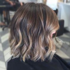 Dark Purple Hair, Hair Color Purple, Brown Blonde Hair, White Blonde, Black Hair, Balayage Brunette Short, Hair Color Balayage, Balayage Hairstyle, Brunette Bob