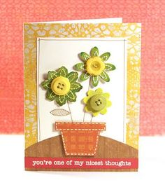 flower pot card with button flowers