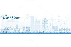 Outline Warsaw skyline by Igor Sorokin on Creative Market