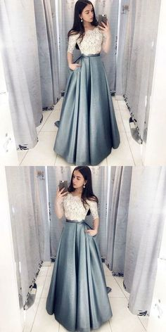 Dramatic Two Piece Long Prom Dresses with Sleeves, Off the Shoulder Grey Prom Dress with Pockets, Hottest Long Prom Party Dresses for Teens Grey Prom Dress, Elegant Prom Dresses, Cheap Evening Dresses, Dress Lace, Prom Dresses For Teens Long, Lace Outfit, Dresses Dresses, Wedding Dresses, Dresses Online