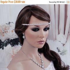 SALE Crystal Bridal Headband Headpiece Blue by EleganceByKate