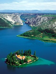 Visovac Island with Franciscan Monastery, Croatia..I love Croatia..it is such a beautiful country and magnificent islands just like Greece and many waterfalls..lots of ancient history as well.