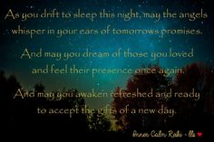 May your dreams at night be filled with peace and joy and may your reality by day be just as beautiful. Blessings - Leslie <3 Inner Calm Reiki