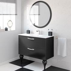 50 Fotos de móveis para casa de banho pequena ~ Decoração e Ideias Vanity, Mirror, Bathroom, Furniture, Home Decor, 1, Black, Tiny Half Bath, Small Bathrooms
