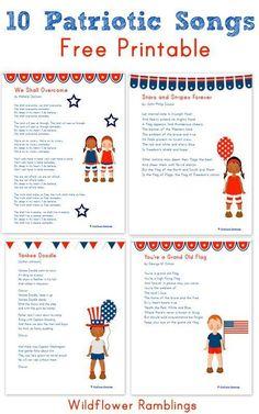 10 Patriotic Songs for Children {free printable!} - Wildflower Ramblings New