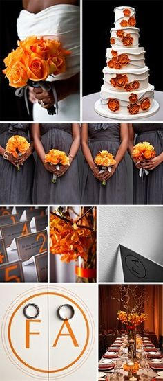 grey + orange wedding - Shannon i like the color scheme, grey would look good on the guys with a touch of orange