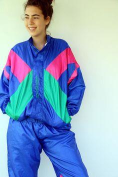 Creation Tracksuit Vintage 80s Streetwear Track Suit Hipster | Etsy Rain Jacket, Bomber Jacket, Dungaree Dress, Gauze Dress, Jeans Jumpsuit, Black Romper, Overall Shorts, Cotton Dresses