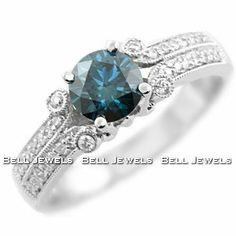 Blue Diamond Engagement Rings | ... Fancy-Blue Diamond Engagement Ring 18k White Gold | Blue Diamond Rings