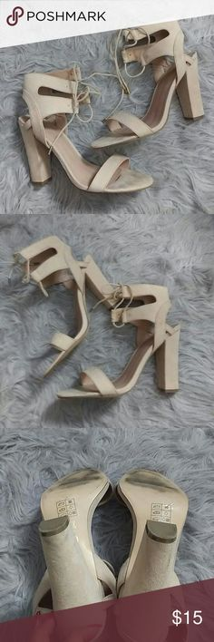 Nude block heel sandals lace up Size: 8.5 Color: nude Condition: good No scuffs ---markings where foot lays-see pics--- Non Smoking home Pet free home Style Tags: yeezy, fashion nova, block heel  Fyi: if anything has obvious or noticeable stain, holes,discoloration, piling, etc it will be noted in the listing. Please be patient with questions as we all live in different time zones etc. I do trade. I do not provide any of my personal contact info. I will sometimes model my clothing. I've been…