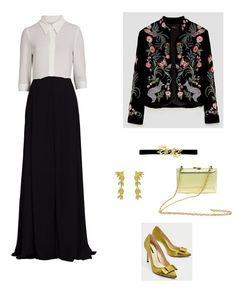 Time for Fashion. White and black maxi dress+mustard bow pumps+black floral embroidery velvet jacket+golden clutch+gold long earrings+black and gold belt. Fall Evening Wedding Guest Outfit 2017