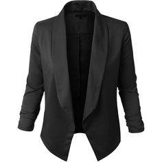 LE3NO Womens Lightweight Open Front Draped Tuxedo Blazer Jacket ($22) ❤ liked on Polyvore featuring outerwear, jackets, blazers, tops, black, drapey blazer, open front blazer, drape jacket, tuxedo blazer and draped blazer