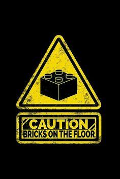 Watch Your Steps – Lego – Bricks – Game – Kids – Print – Poster Lego Design, Lego Plan, Lego Poster, Room Ideias, Lego Hacks, Lego Storage, Lego Building, Playroom, Kids Room