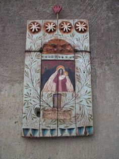 Large Wooden Rustic Painted Handmade Shrine Catholic Shrine Religious Shrine Original Wood Sculpture Art