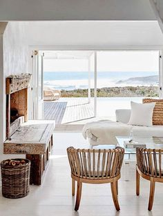 Living room with a view in a light and airy seaside home in South Africa