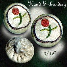Image Copyright RC Larner ~ Small Embroidered Rose On White Silk Button ~ R C Larner Buttons at eBay & Etsy          http://stores.ebay.com/RC-LARNER-BUTTONS