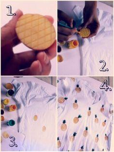 Pineapple block print DIY t-shirt For full video tutorial visit my YouTube channel All That Glitters https://m.youtube.com/channel/UCtZ-NHKiNnmSla6k51OB91Q