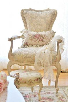 French chair and ottoman combined with needlepoint pillow = cottage chic - #CottageHome