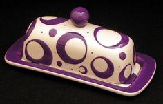 Butter Dish.Purple Knobbed Butter Dish. Circle.Purple. Dot. Butter. Dish. Tray. Handmade by Sara Hunter Designs.