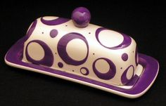 Butter Dish.Purple Knobbed Butter Dish. Circle.Purple. Dot. Butter. Dish. Tray. Handmade by Sara Hunter Designs.