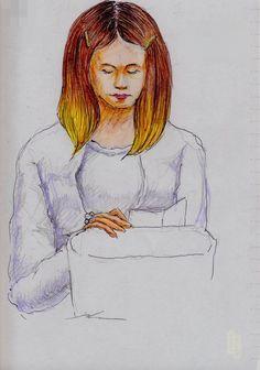 白いカーディガンのお姉さん(通勤電車でスケッチ)This is a woman of sketch wearing a white cardigan. It drew in a commuter train.