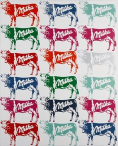 Nicolas NOVERRAZ                        Sérigraphie 18 vaches Milka (n°616) Andy Warhol, Oeuvre D'art, Les Oeuvres, Homemade, Artist, Paint, Drawing Drawing, Home Made, Hand Made
