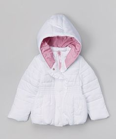 White Ruffle Puffer Coat - Infant, Toddler & Girls