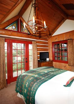 Private Cabin Interior at Big Cedar Lodge - can lie in bed and watch it snow or see the sun come up!