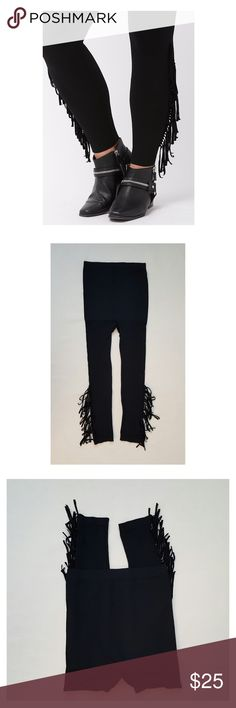 Lane Bryant Jet Black Fringe Leggings Lane Bryant Control Top Jet Black Fringe Leggings, comfy and cozy, stretch with high waist. Control Top very comfortable. SIze A-B see photos for chart sizing. Lovely 💖🌺💕👍👑🙋🏻 Lane Bryant  Pants Leggings
