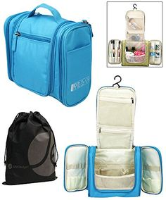 JAVOedge Blue Personal Travel Bathroom Hanging Organizer for Toiletries, Cosmetic, Makeup   Bonus Drawstring Bag >>> Want additional info? Click on the image.
