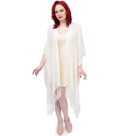 1920s Wedding Art Deco Style Ivory Floral Lattice Fringe Riwana Scarf Coat