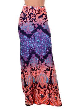 Before Sundown Damask Print Maxi Skirt