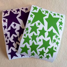 Green and Purple Wonky Star Stickers - Set of 76 (repinning because previous etsy listing sold out)