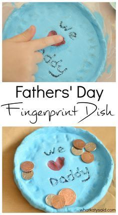 Fathers Day Gift Idea- Fingerprint dish from the kids using their thumbs to make the heart. All dads have loose change in their pocket and now this handy personalised dish will give them somewhere to keep it. A simple but effective craft!