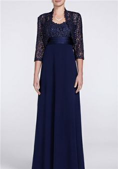 lace jacket dress sheath floor length 3/4 sleeve