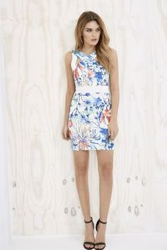 Olia Floral Print Cross Over Bodycon Dress at boohoo.com