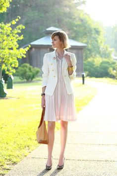 Pastels with white blazer