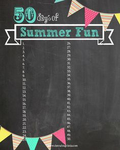 Summer fun chart vertical - printable