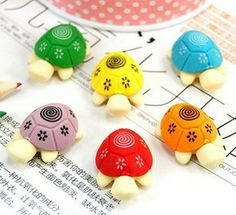 South Korea's creative stationery pencil erasers wholesale small fresh cute cartoon color turtle stationery eraser 45 pcs/set