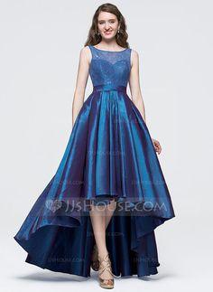 Corte A/Princesa Escote redondo Asimétrico Tafetán Vestido de baile de promoción con Lazo(s) (018089694)